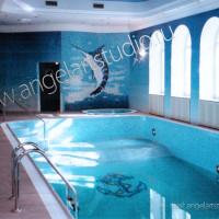 декорирование стен мозаикой в бассейне