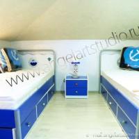 Ремонт, дизайн мансардного этажа в Сочи, фото спальни